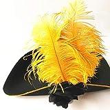 JKLKJ Sombrero de Pirata de Plumas para Hombres Adultos, Sombrero de Copa Royal Court, Accesorios de Vestir, Maquillaje, Fiesta, graduación, Halloween, Navidad, Amarillo