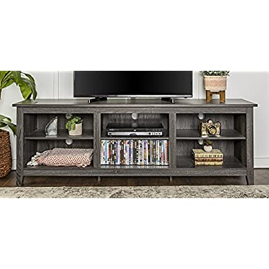 WE Furniture 70  Wood Media TV Stand Storage Console - Charcoal