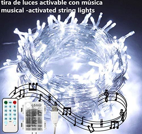Cadena de luces LED para árbol de Navidad, tira musical 100 LED electrica y con pilas, LED cortina de luces 10m,...
