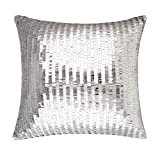 Merrycolor Sequin Throw Pillow Cover for Couch Sofa Sparkle Mermaid Decorative Cushion Cover Silver Glitter Accent Pillow Home Decor 16x16 Inches Silver