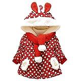 byeel Baby-Mädchen Jacke Dot Bedruckt Starke Warme Mantel mit Kapuze und Schal Kapuzenjacke Bekleidung,0-3 Jahre