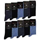 sockenkauf24 10 Paar Herren Comfort Socken ohne Gummi ohne Naht mit Komfortb& Baumwolle Herrensocken Schwarz Navy Jeans (3 x Jeans | 3 x Navy | 4 x Schwarz 43-46)