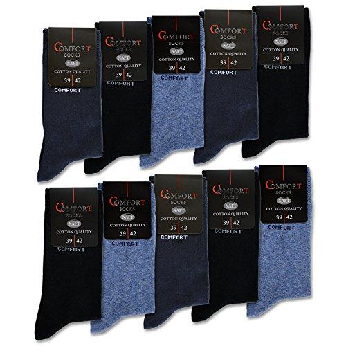 10 Paar Comfort Socken Damen & Herren ohne Gummi & ohne Naht Baumwolle Komfortbund (Jeans|Navy|Schwarz 43-46)