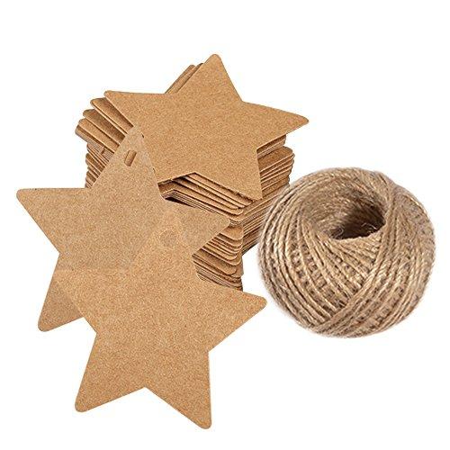 Weihnachten Etiketten Tags Geschenk Anhänger,100 Stück kraftpapier Hängeetiketten 6 CM * 6 CM mit 30 Meter Jute-Schnur für Weihnachtsgeschenke, Marmeladen etc.(Braun)