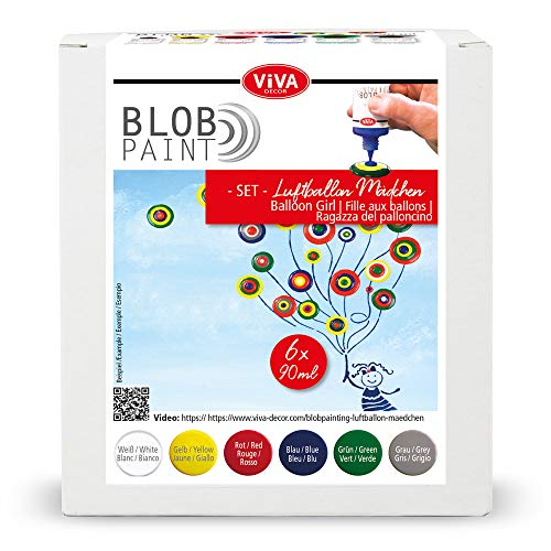 Viva Decor® Blob Paint Farbeset (Luftballon-Mädchen) gebrauchsfertige Farben für Blob Painting/Dot Painting Art - Dotting Tool für Leinwand, Mandala uvm. - Made in Germany