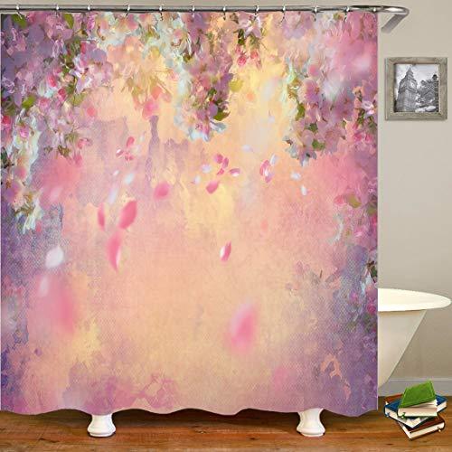 Hiser Duschvorhang Hohe Qualität PolyesterWasserdicht Anti-Schimmel Anti-Bakteriell 3D Drucken mit C-Form 12 Ringe Kunststoff Haken Bad Vorhang für Badzimmer (Pinke Blumen,150x180cm)