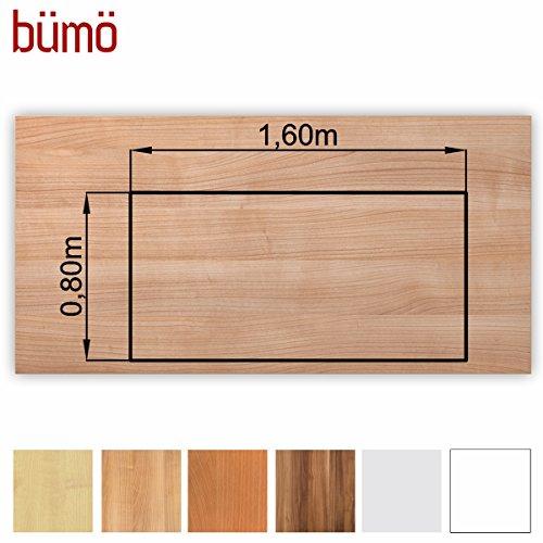 Bümö® stabile Tischplatte 2,5 cm stark - DIY Schreibtischplatte aus Holz | Bürotischplatte belastbar mit 120 kg | Spanholzplatte in vielen Formen & Dekoren| Platte für Büro, Tisch & mehr (Rechteck: 160 x 80 cm, Nussbaum)