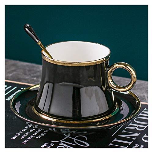 Taza de agua Pequeña taza de café de cerámica de oro simple conjunto té negro té tarde taza envase (Capacity : 201 300ml, Color : D)