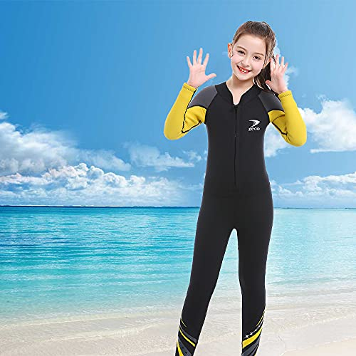 YUYDYU Traje de neopreno de nailon de 2,5 mm, para niños, de una pieza, cálido, de manga larga, protección UV, para niños, jóvenes, natación, buceo, surf: 33-45 kg