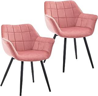 Duhome 2X Silla de Comedor diseño Retro con Brazos Silla tapizada Vintage sillón con Patas de Metallo 8092C1, Color:Rosa, Material:Terciopelo