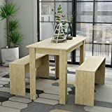 Hironpal 3 Pieces Dining set Wood Table with 2 benches Kitchen Dining Room Furniture, 110 x 55 x 73 cm (L x D x H), 90 x 24 x45 cm(L x D x H) Natural Chipboard