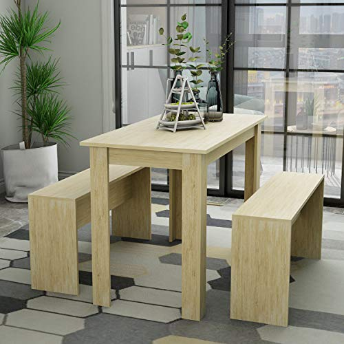 Hironpal Dining Table with 2 benches, Kitchen Table and 2 Chairs, Space Saving Wooden for 4 People Natural ChipboardDining Furniture