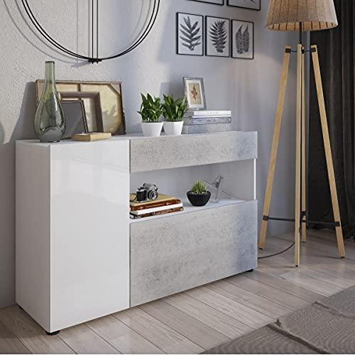 Germanvox - Mueble aparador moderno para salón, color blanco y gris cemento 130 x 41 x 81 cm