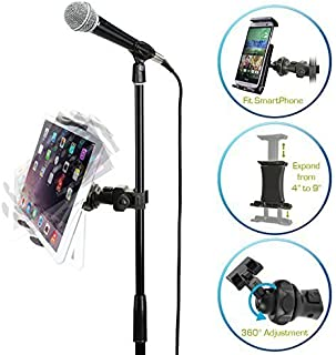 AccessoryBasics EasyAdjust cymbal Microphone Mic Stand Tablet Mount for Apple iPad PRO Air Mini Samsung Galaxy Tab Surface Pro/Book & iPhone 11 Pro XR XS MAX X 8 Plus Galaxy S9 S10 Note LG Smartphones