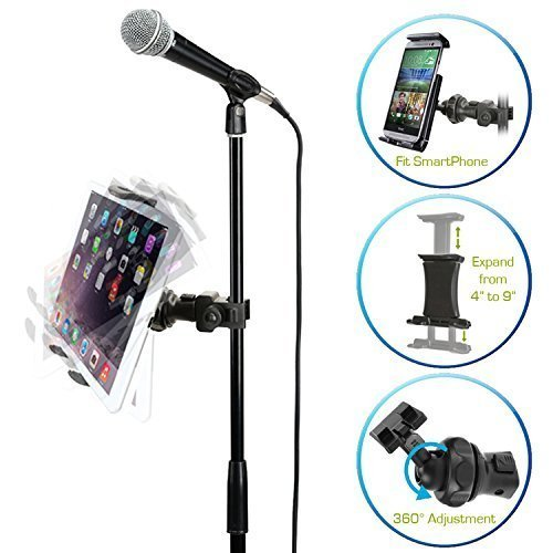 AccessoryBasics EasyAdjust cymbal Microphone Mic Stand Tablet Mount for Apple iPad PRO Air Mini Galaxy Tab Surface Pro/Book & iPhone 12 11 XR XS MAX X Plus Galaxy S20 S10 Note (Zoom Compatible)