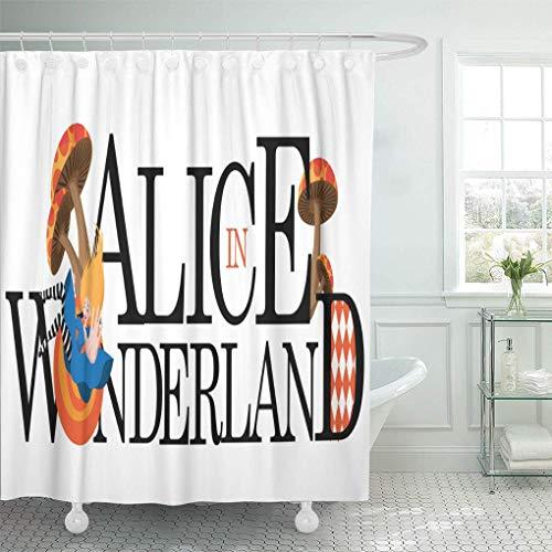 N\A Duschvorhang Ace Wonderland Alice Text 10 Hut Cartoon Kette Kindheit Duschvorhänge Sets mit 12 Haken Wasserdichter Polyester Stoff