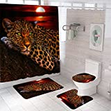 EDIONS Juego de 4 cortinas de ducha con diseño de leopardo y luna, de poliéster, con 12 ganchos
