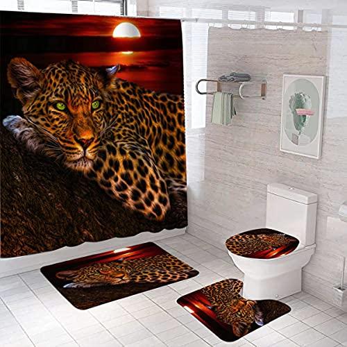 EDIONS Set di 4 tende da doccia Leopard Moon con tenda da bagno in poliestere, telo per il bagno e tappetini antiscivolo, accessori per il bagno con 12 ganci
