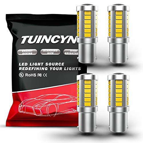 TUINCYN 1156 Bombilla LED Bombilla de luz de freno blanca 5630 33SMD Luz de señal de giro Copia de seguridad Luz de marcha atrás Bombillas marcadoras laterales CC 12V (paquete de 4)