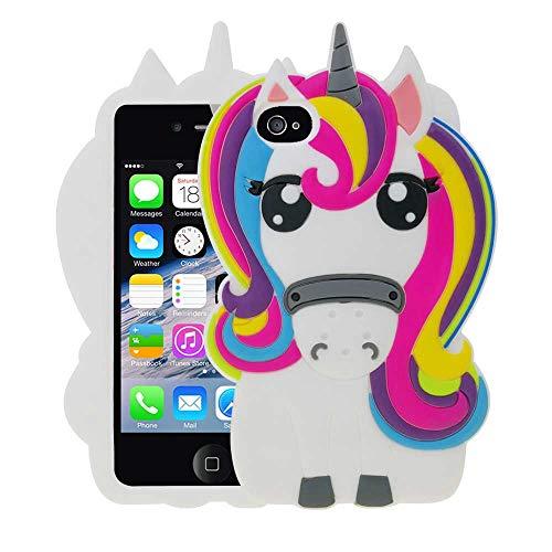 BJTRADE Funda iPhone 4S/4, Divertidas 3D Unicornio de Silicona Suave Animales Carcasa Antichoque Protección Anti-rasguños Resistente Bumper Fundas Case Cover (Colorido)