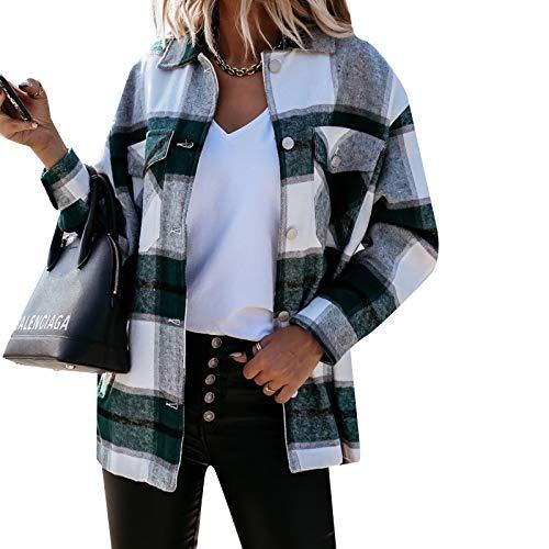 MINASAN Blusa de manga larga con bolsillos a cuadros y botones para mujer, de gran tamaño, abrigo, camisa,...