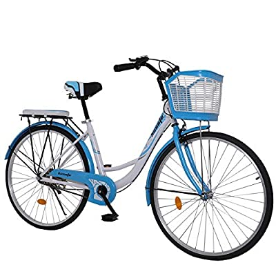 26 inch Beach Cruiser Bike for Women, High Tensile Carbon Steel Commuting Bike, Sigle-Speed City Bicycle with Basket Blue