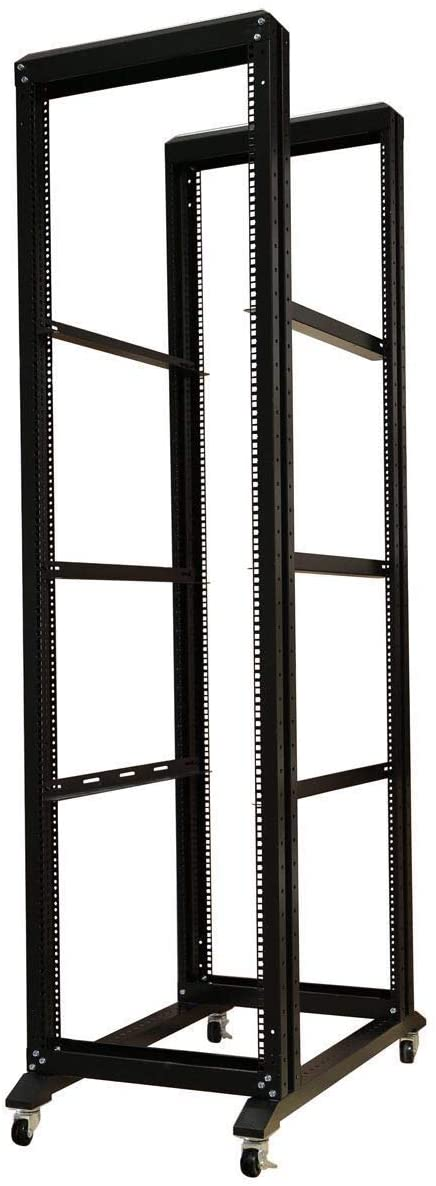 RAISING ELECTRONICS 42U Open Frame Server Network Rack 600MM Deep 4 Post with 3 Pairs of L-Rails