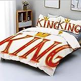 Juego de funda nórdica, Royal King Quote en letras mayúsculas con corona como un lema vívido como una impresión artística Juego de cama decorativo de 3 piezas con 2 fundas de almohada, rojo y dorado,