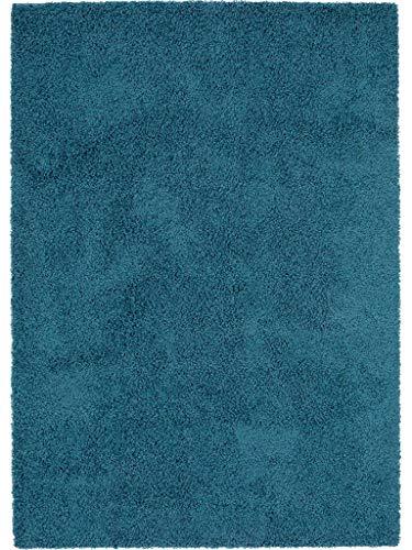 Tapis Shaggy à Poils Longs Swirls Bleu 80X150 Cm - Tapis Descente de Lit