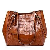 XYAZ Bolso grande de moda para mujer color sólido bolso femenino imitación cocodrilo bolso de mano bolso bandolera portátil,marrón