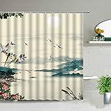 XCBN Flower Bird Butterfly Scenery Duschvorhänge Pflanze Blumenlandschaft Badezimmer Wasserdichter Badvorhang mit Haken A5 150x180cm