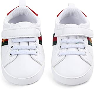 Unisex Baby Shoes White,  with Green and red Stripes,  Different Sizes,  Very Soft,  with Shoe Laces and Velcro