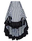Belle Poque Enagua de la Mujer Steampunk Striped Ruffle Skirt Elegante Cremallera Tamaño 2X Azul Oscuro