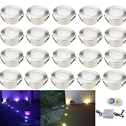 20x RGB Lampe de Spot A LED pour Terrasse Enterré...