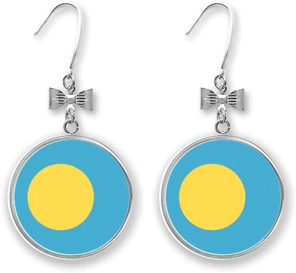 New product type Palau National Flag Oceania Country Symbol Bow Drop outlet Earrings Stu