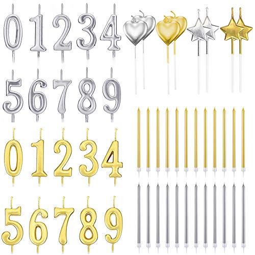 Juego de 52 velas de cumpleaños con números, PUDSIRN, 20 piezas, número 0-9, con purpurina para decoración de tartas, con 32 velas de cumpleaños de largo, estrella y corazón