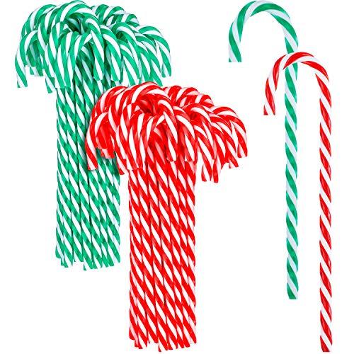 50 Piezas Bastón de Caramelo de Plástico de Navidad Adornos Colgante de Árbol de Navidad para Favores de Decoración de Fiesta de Vacaciones (Color 4)