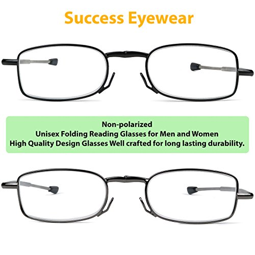 Reading Glasses 2 Pair Black and Gunmetal Readers Compact Folding Glasses for Reading for Men and WomenCase Included +2