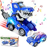 iBacakys Transforming Dinosaur Toys, Transforming Dinosaur Car with LED Light and Music Automatic Transform Dino Car for 2+ Year Old Kids Christmas Birthday Gifts