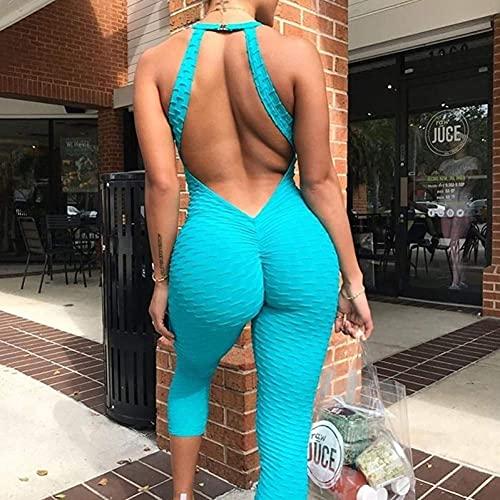 GaoF Leggings con Hebilla sin Espalda para Mujer, Pantalones de Yoga de una Pieza para Gimnasio, Monos Deportivos, Mono Deportivo, Mallas Deportivas para Correr, Mameluco