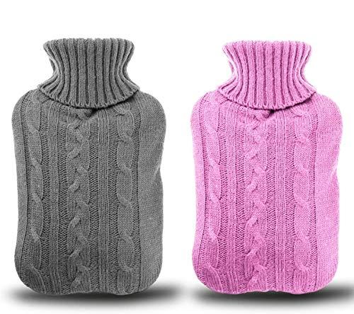 Borsa dell'acqua Calda 2 pezzi, Gifort 2L borsa dell' acqua calda con rivestimento rimovibile e lavabile a maglia maglia copertura della bottiglia, morbido e caldo (Rosa e grigio)