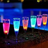 Modern Home LEDCHAMPAGNE LED Champagne Glasses, Set of 6, Multicolored