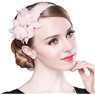 80Store Fascinator Headband-Ladies Chic Headdress 3D Chiffon Flower Feather Decor Pink (Pink):Hashflur