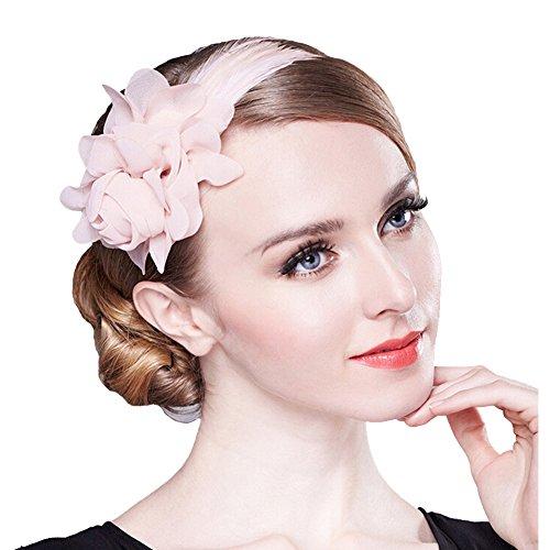 80Store Fascinador Venda- Mujer Elegante Tocado 3D Gasa Flor Pluma Decoración Rosado...