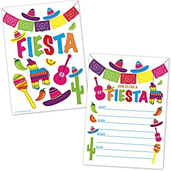 Fiesta Party Invitations - Fill in The Blank Style - Cinco de Mayo - Mexican Fiesta Theme Birthday Invites for Kids and Adults  20 Count with Envelopes