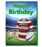 Maillot de rugby carte d'anniversaire–Wigan Couleurs–personnalisé avec un nom et numéro