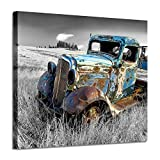 Rusty Car Canvas Wall Art: Old Truck Pictures Paintings Print on Canvas Artwork for Bedrooms (24'W x 18'H,Multi-Sized)