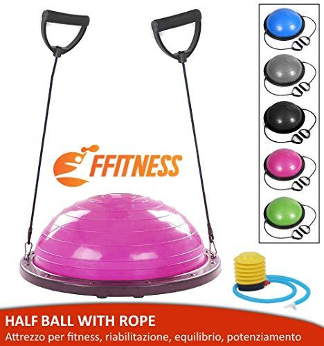 FMYBB70R Balance Ball Trainer con Elastici | Palla (Ø 60 cm) per Fitness Yoga Pilates Allenamento Riabilitazione | in ABS e PVC antiscoppio (Rosa)