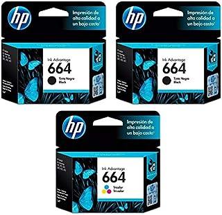 Kit Cartucho HP 664 Preto (2 Un.) + Cartucho HP 664 Colorido (1 Un.) - Original