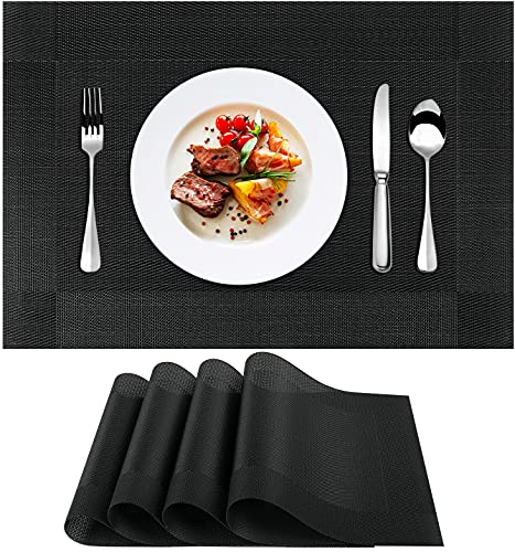 YMERSEN Manteles Individuales de PVC (4 manteles Individuales), Antideslizantes, Lavables, Resistentes al Calor, fáciles de Limpiar y almacenar, para cocinas, restaurantes y hoteles